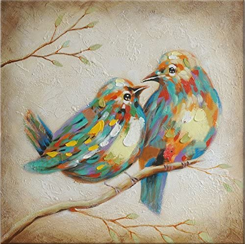 Beauty Decor 100 Hand Painted Oil Painting Animal Colorful Birds Painting with Stretched Frame Wall Art for Home Decor Ready to Hang 16X16, Quirky Birds