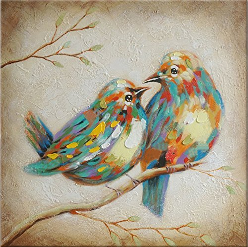 Beauty Decor 100 % Hand Painted Oil Painting Animal Colorful Birds Painting with Stretched Frame Wall Art for Home Decor Ready to Hang (16X16, Quirky Birds)