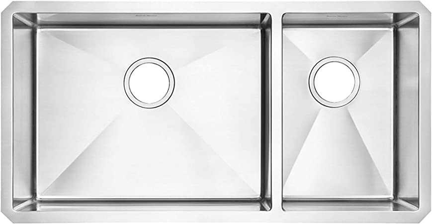 American Standard 18cr 9351800 075 Pekoe Undermount 35x18 Offset Double Bowl Kitchen Sink With Included Drain And Bottom Grid Stainless Steel Amazon Com