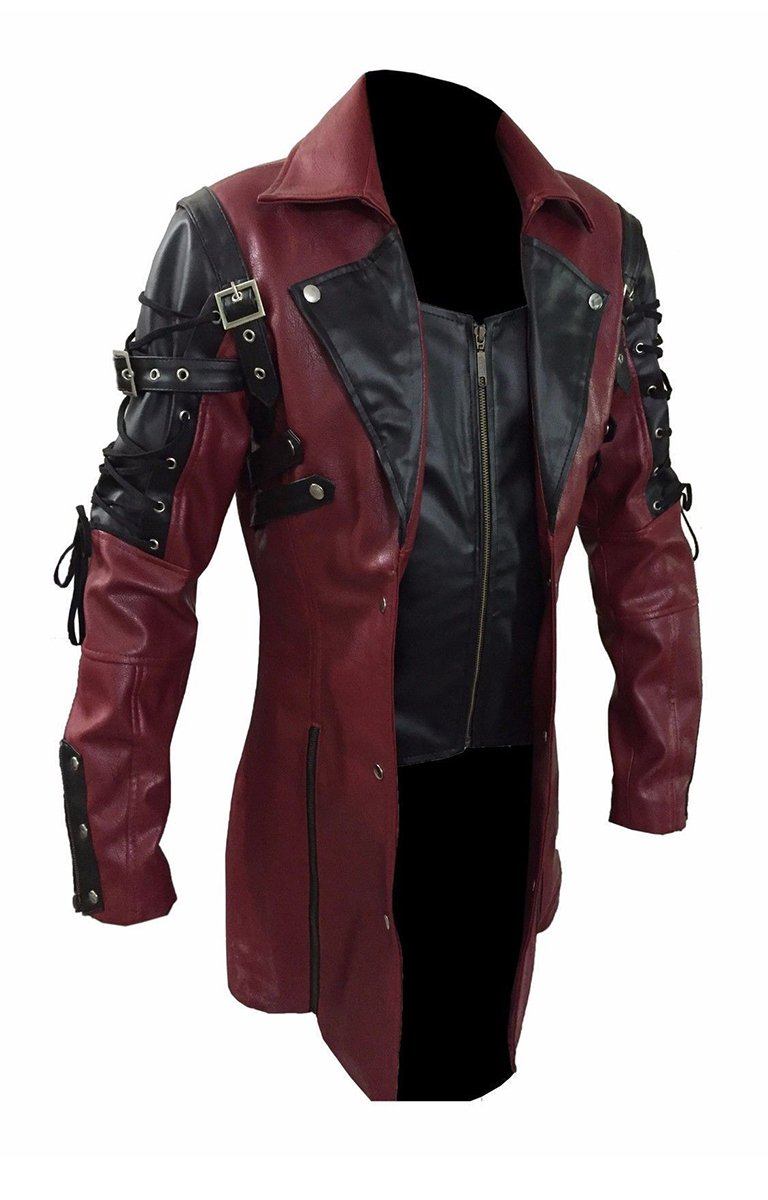 Mens Red Goth Matrix Trench Coat Steampunk Gothic of Month 3