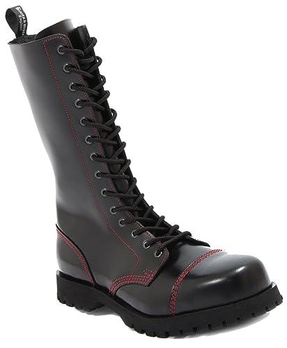 Boots  Braces - 14 Loch schwarz mit roter Naht Stiefel Rangers