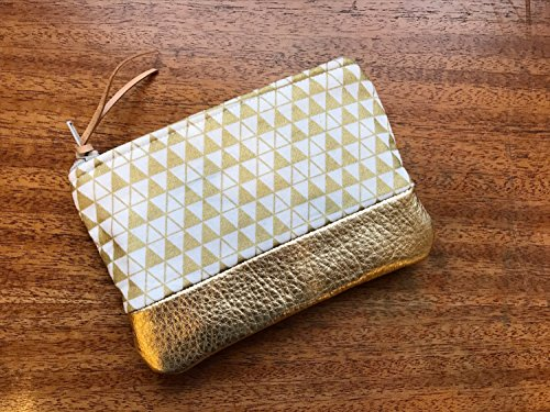Triangles Metallic Gold Leather Pouch, Coin Purse