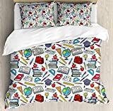CyCoShower Kids Duvet Cover Soft Microfiber 4 Piece Bedding Cover Set Elementary School Theme Student Supplies Globe Paints and Brushes Books Education Print, Zipper Closure and Corner Ties