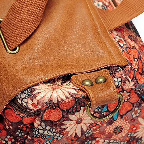 à sac main bandoulière Café par Camélia Fleur à Top à main MS fourre Sacs tout Poignée Femme sacoche Sac sac w4SqzF