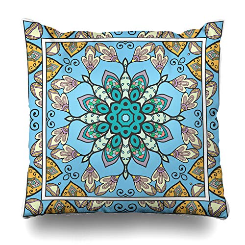 Ahawoso Throw Pillow Cover Pillowcase Headcover Artistic Ascot Hijab Authentic Bandana Bandanna Border Design Paisley Zippered Square Size 16 x 16 Inches Home Decor Cushion Case