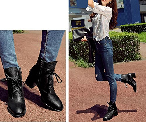Temperament With Boot Lace Leather Leisure Simple and Slim Women Ankle Bootie Cotton Shoes 37 sg0MaC4
