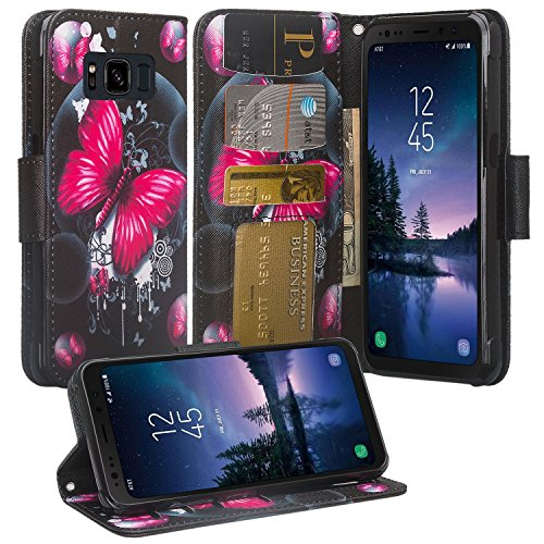 Galaxy S7 Active Case, SOGA [Pocketbook Series] PU Leather Magnetic Flip Design Wallet Case Compatible for Samsung Galaxy S7 Active - Pink Butterfly