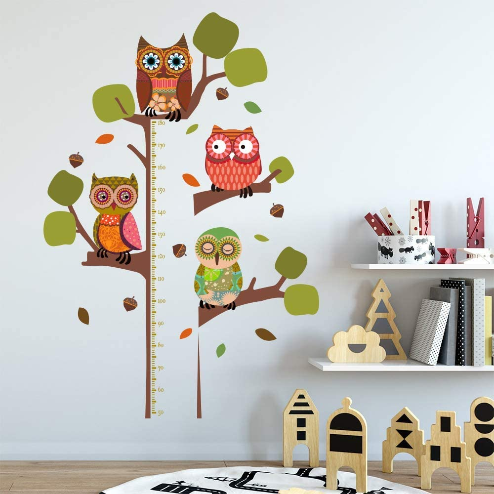 ufengke Owls Tree Height Chart Kids Wall Sticker Removable Wall Art Decals for Bedroom Nursery Playroom - Large Size