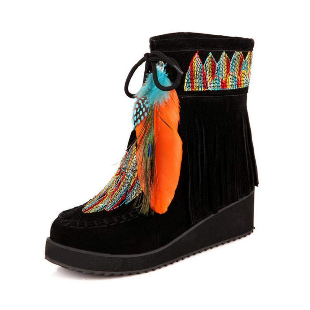 Black Women's Booties, Fall Winter Indian Style Retro Fringe Boots Flock Chunky Feather Women Ankle Short Boots Tassels Big Size shoes Size (color   Black, Size   43)