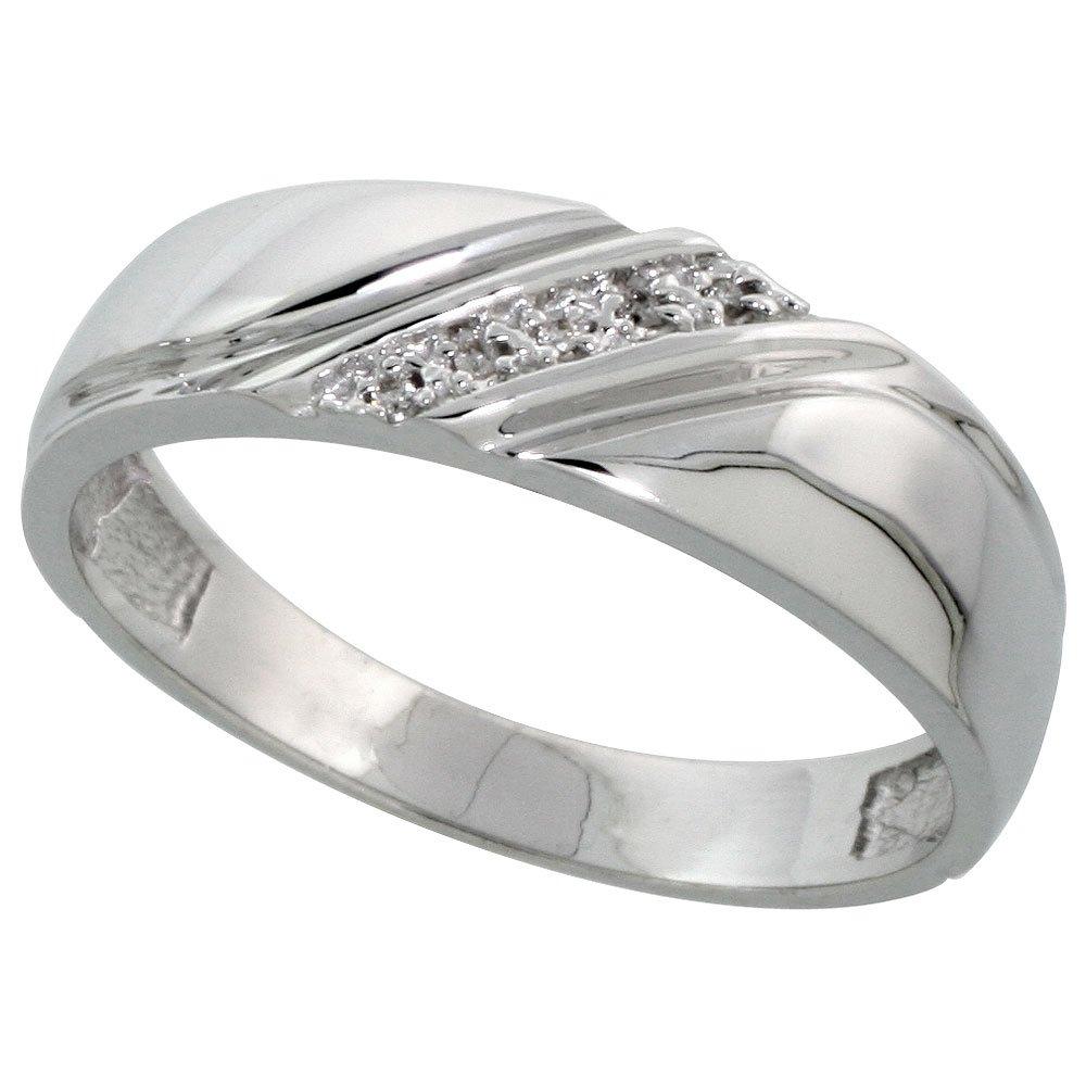 w// 0.03 Carat Brilliant Cut Diamonds 1//4 in. 6mm Sterling Silver Mens Diamond Band wide Size 13.5