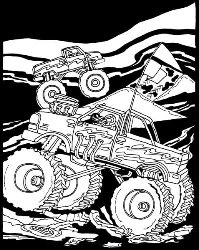 Darice 1157 61 Velvet Color In Poster Monster Trucks Black And White 16 X 20 Amazon Ca Home Kitchen