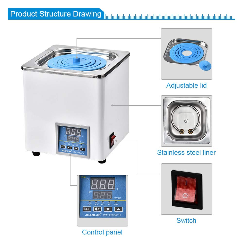 ETE ETMATE Digital Thermostatic Water Bath Lab Water Bath,Electric Digital Display Constant Temperature Water Bath, with Selectable Openings, RT to 100°C, 3L Capacity, 300W, 110V/60 Hz by ETE ETMATE (Image #4)