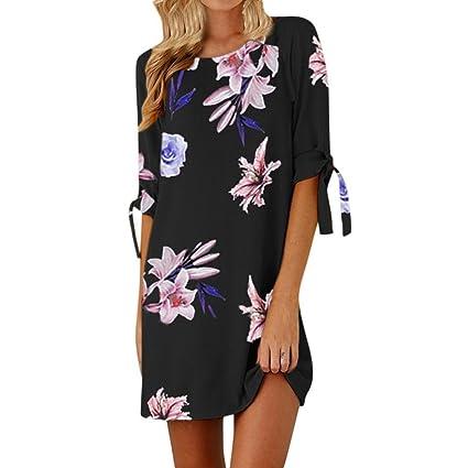 Faldas Playa Mujer, 💕 Zolimx Mujeres de Impresión Floral Bowknot Mangas Cóctel Mini Boho Vestido