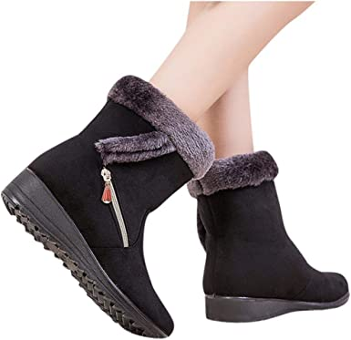 F1rst Rate Womens Round Toe Snow Boots Flock Winter Button Pull On Ankle Booties Shoes