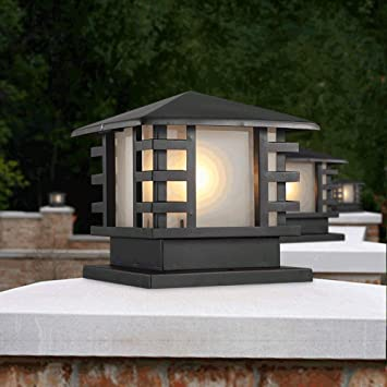 Modenny Outdoor Waterproof IP44 Patio Post Lamp External Quality Aluminum Square Pillar Column Light Lantern Victoria Antirust Rainproof Glass Lampshade Porch Streetlight Size : Height: 25cm