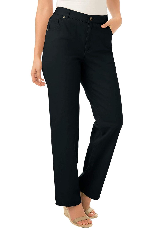 8527a7558d0 Woman Within Plus Size Petite Side-Elastic Straight Leg Cotton Jean at  Amazon Women s Jeans store