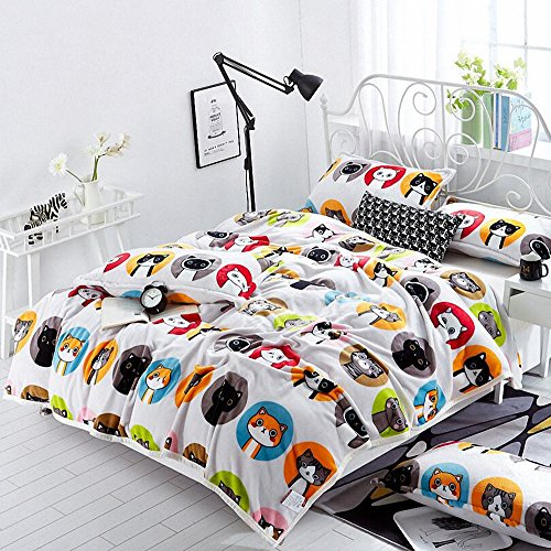 DANGTOP 100% Polyester Made Patchwork Animal Design Cartoon Printed Children Winter Christmas Blanket Twin Full Sizes (Full, Kitty Party)