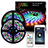 Music LED Strip Lights, 10M/33.8ft LED Lights Strip Bluetooth Smart Phone APP & RF Remote Controlled RGB LED Strip Rope Lights Waterproof LED Strip Lights Kits Support iPhone Android, Rainbow Colors