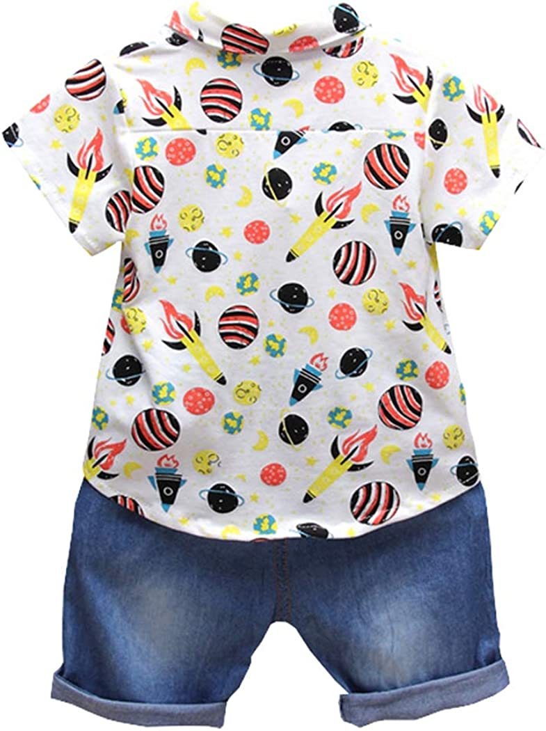 ALLAIBB Baby Toddler Boys Short Sleeve Lapel Print Shirt with Denim Shorts Set