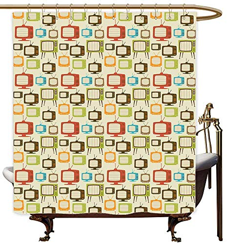 SKDSArts Shower Curtains Cloth for Bathroom Vintage,Old Televisions Pattern in Retro Colors Antenna Electronics Entertainment Nostalgic,Multicolor,W65 x L72,Shower Curtain for Small Shower stall
