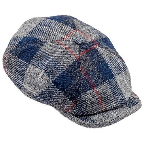 [Sterkowski Harris Tweed 4 Panel Applejack Classic Flat Cap US 6 7/8 Blue Tartan] (Hats 4 U)