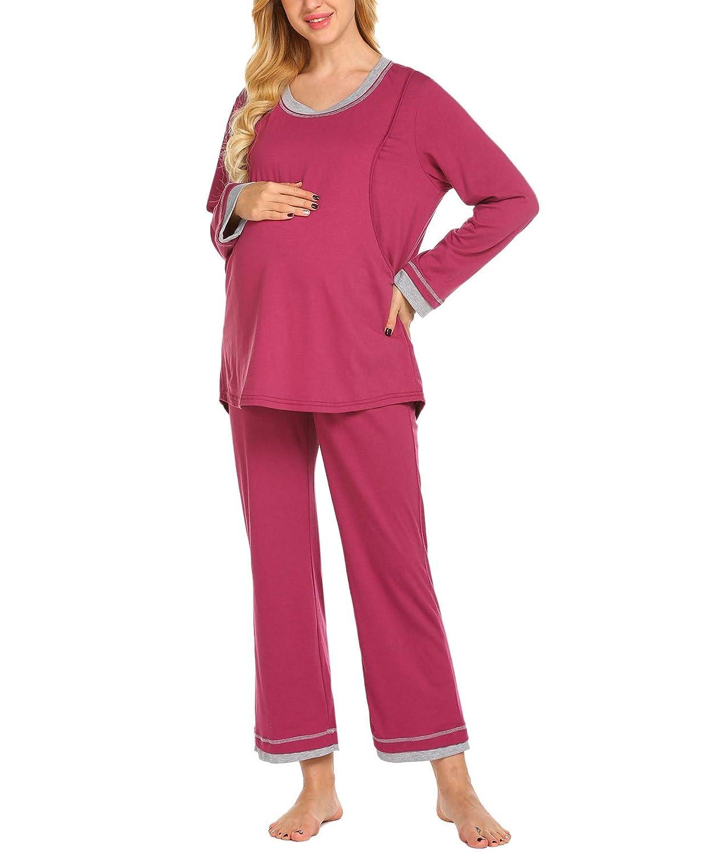 Lucyme Damen Umstands- und Still-Pyjama-Set Schwangerschaft-Nachtwä sche leicht Atmungsaktiv S-XXL