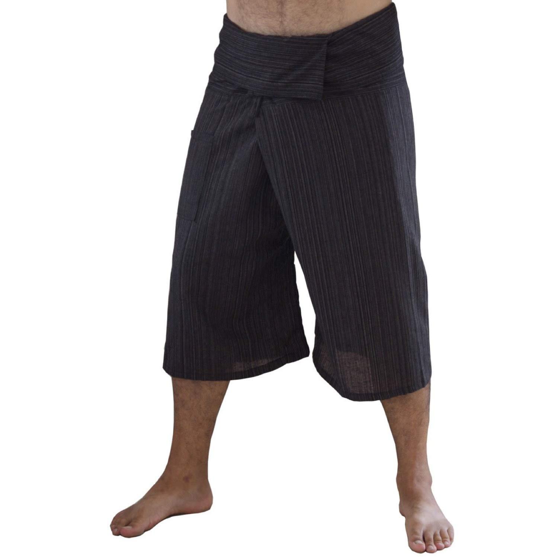 Siam Secrets 100/% Cotton Pinstripe 3//4 Capri Thai Fisherman Pants Plus Brown