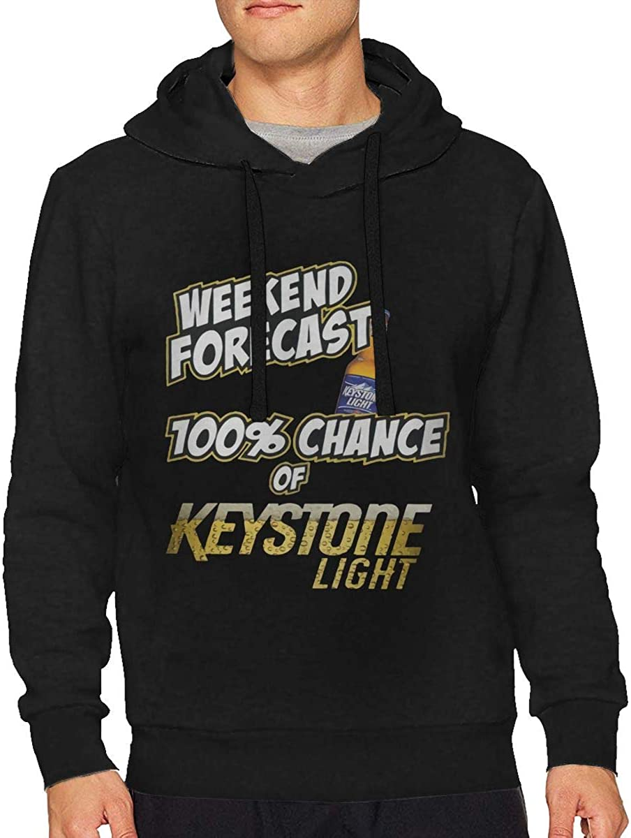 Mans Weekend Forecast 100/% Chance of Keystone Light Drawstring No Pocket Sweater