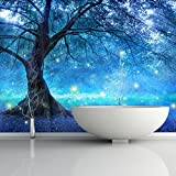 Mystical Fairy Tree Blue Enchanted Forest Kids Wall Mural Photo Wallpaper available in 8 Sizes Medium Digital
