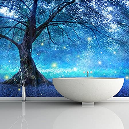 Azutura Blue Fairy Tree Wall Mural Fairytale Forest Photo Wallpaper Girls Bedroom Decor Available In 8