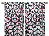Pair of rod curtains 50'' wide panels magna gray red natural window treatment nursery cotton drapes 84 96 108