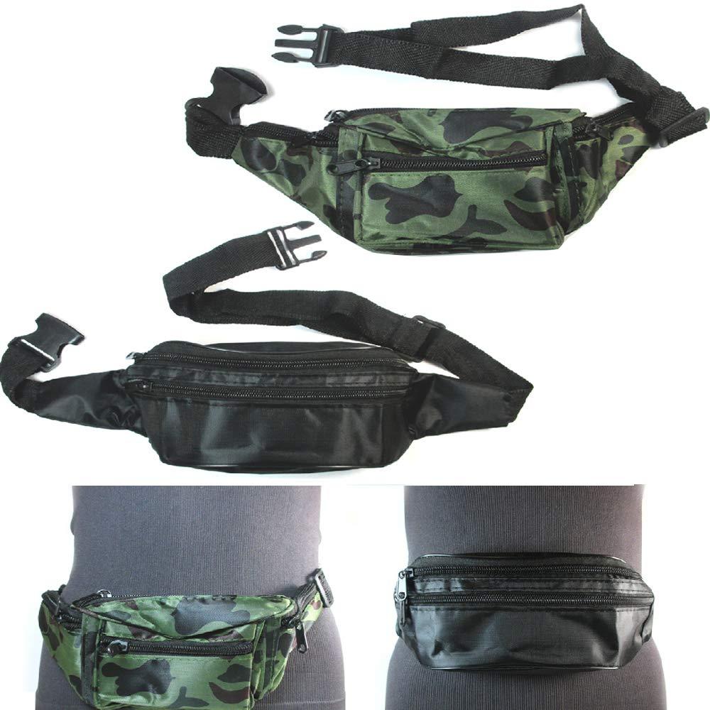 20 Lot Fanny Pack Waist Pouch Travel Utility Bag Belt Adjustable 3 Pocket Sports