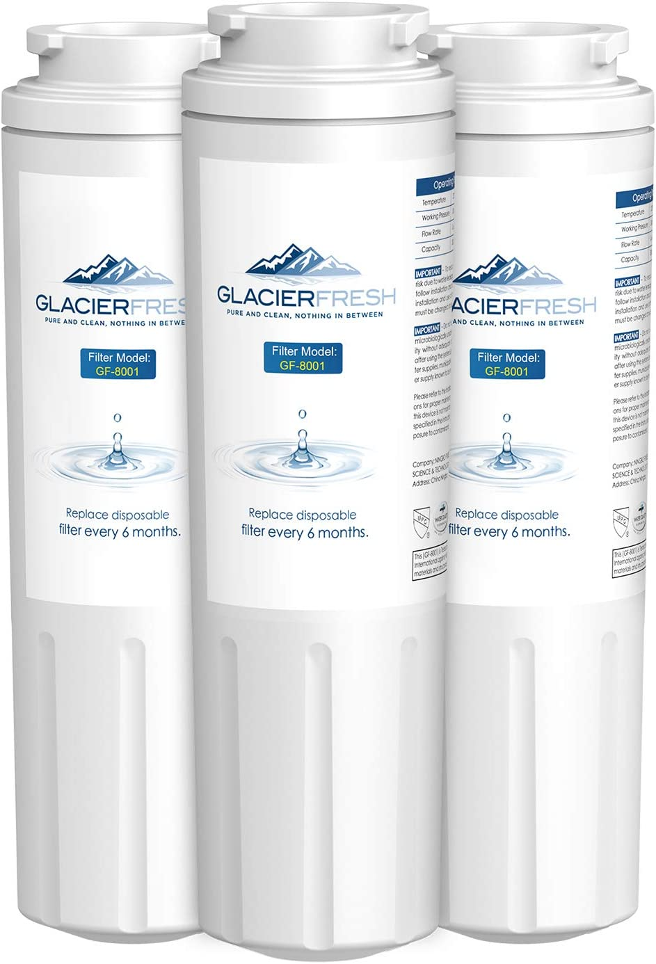 GLACIER FRESH UKF8001 Water Filter Cartridges NSF 42 Certified, Compatible with Maytag UKF8001, KitchenAid 4396395, UKF8001AXX, UKF8001P, Filter 4, EDR4RXD1, 469006, Puriclean II, (3 Packs)