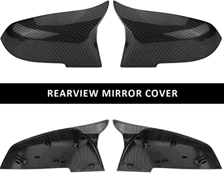 Replacement Rearview Mirror Cover Cap,1 Pair Carbon Fiber ABS Driver and Passenger Side Door Mirror Covers For 2013-18 BMW F30 Sedan