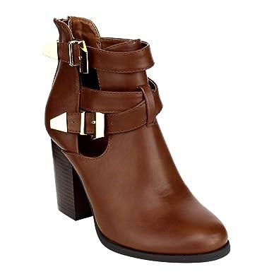 AE64 Women Side Zip Buckle Strap Cut Out Block Heel Ankle Boot