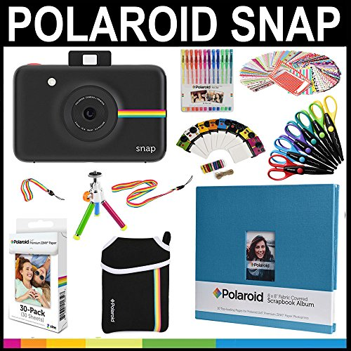 Polaroid Snap Instant Print Camera Gift Bundle + ZINK Paper (30 Sheets) + 8×8″ Cloth Scrapbook + Pouch + 6 Edged Scissors + 100 Sticker Border Frames + Color Gel Pens + Frames + Accessories