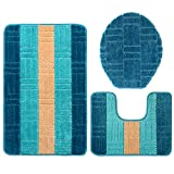 GRAND ERA 3 Piece Bath Mat Set Polypropylene Fiber Mat 20'' x 31'' with Contour Rug and Lid Cover, Bright Blue