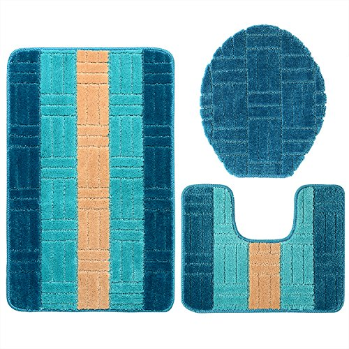 GRAND ERA 3 Piece Bath Mat Set Polypropylene Fiber Mat 20'' x 31'' with Contour Rug and Lid Cover, Bright Blue by GRAND ERA