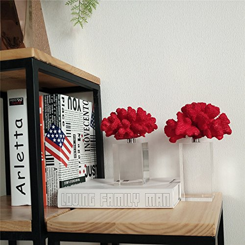 BRLIGHTING Coral Decoration, Simple Fire Coral Sculpture with Crystal Bases Tabletop Modern Decor Accents Home Office Collection Best Creative Gifts (L4.5 xW5 xH10, Red)