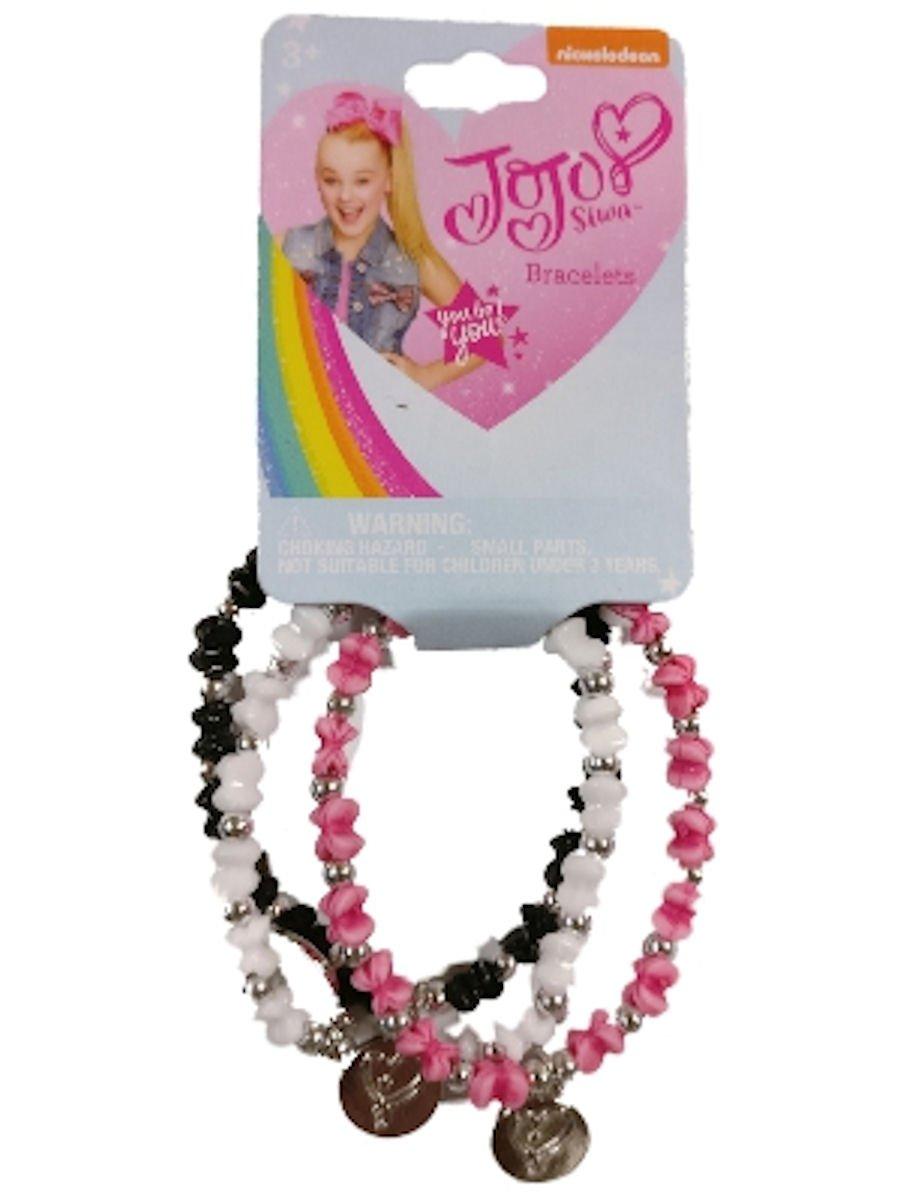 JoJo Siwa Stretch Bead Bracelets Set of 3 (Black/White/Pink)