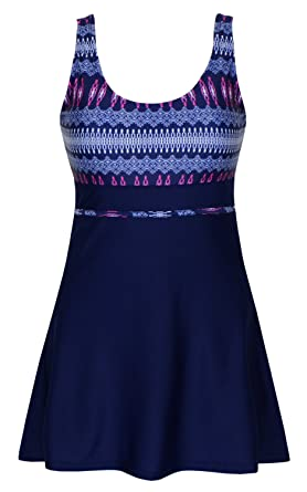 c8b030133ee45 DANIFY Women's Plus Size Swimsuits Slimming Tummy Control Swimdress Retro  Skirt Swimming Suit