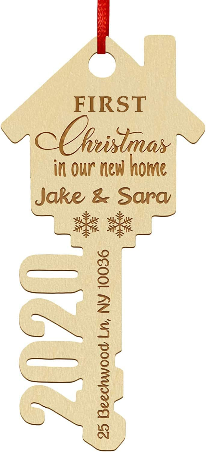 First Christmas in New Home Ornament 2020 - Personalized First Christmas Ornaments - Laser Engraved w/Your Names & Address (Key)