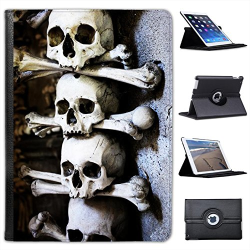 Skulls Stacked with Bones in Cave Scary Halloween for Apple iPad Air 2 [2014 Version] Faux Leather Folio Presenter Case Cover Bag with Stand Capability]()