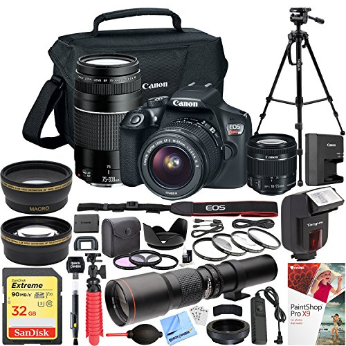 Canon EOS Rebel T6 DSLR Camera with EF-S 18-55mm f/3.5-5.6 IS II + EF 75-300mm f/4-5.6 III Dual Lens Kit + 500mm Preset f/8 Telephoto Lens + 0.43x Wide Angle, 2.2x Pro Bundle