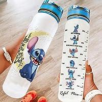 Youturnnow Stitch drinkfles van Tritan met tijdmarkeringen, lichte sportfles voor sport, outdoor, school, fitness