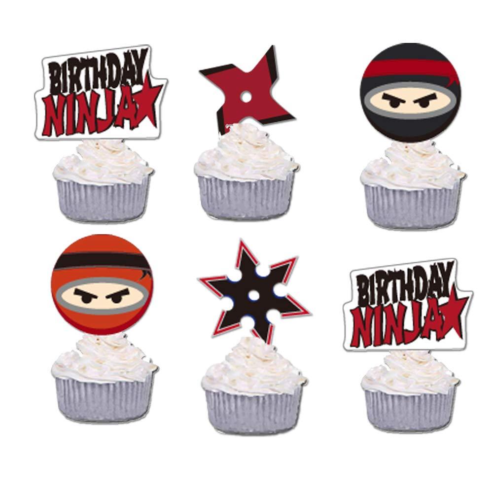 GmakCeder Ninja Cupcake Topper 24 Pcs