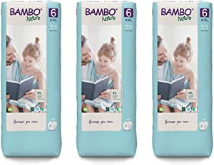 Bambo Nature Premium Eco Nappies, XL Size 6 (34+ lb/16+ kg) 3 x Tall Pack of 40 (Case Saver)