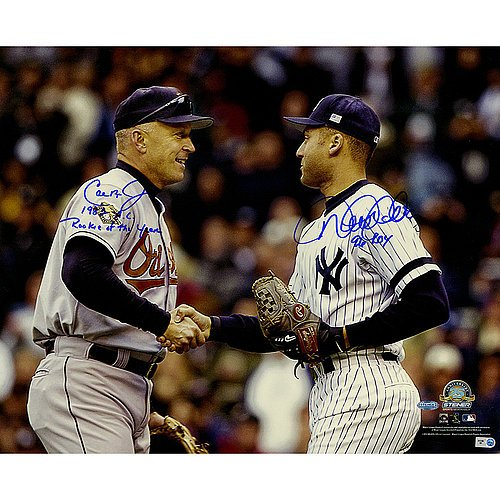 Cal Ripken Jr. & Derek Jeter Dual Signed Shaking Hands 16x20 Photograph w/ 1982 AL Rookie of the Year Inscription by Ripken Jr. & 96 ROY Inscription by Jeter - Certified Authentic Autograph