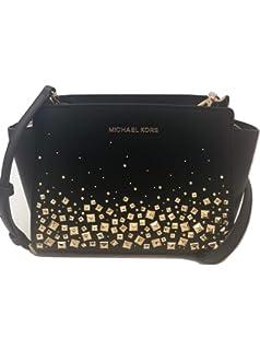 f2b22b430c3fb MICHAEL Michael Kors Selma Stud Medium Messenger Leather Crossbody Handbag  Purse