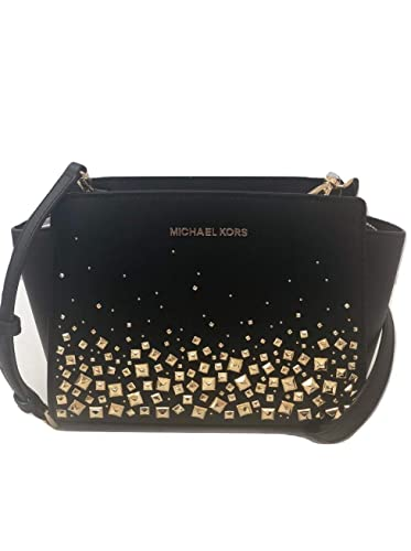 b6abd52bd59182 MICHAEL Michael Kors Selma Stud Medium Messenger Leather Crossbody Handbag  Purse - Black/Gold